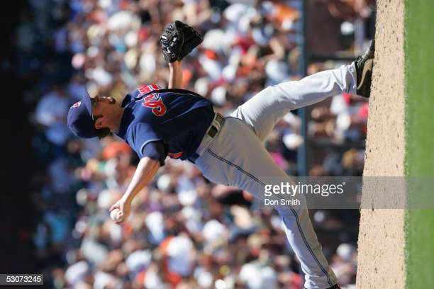 Matt Miller of the Cleveland Indians pitches during the game against the San Francisco Giants at SBC Park on June 12 2005 in San Francisco California...