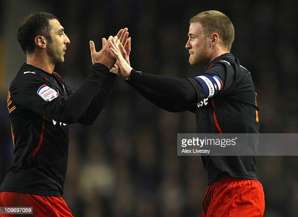 Matt Mills of Reading celebrates with Zurab Khizanishvili after scoring the opening goal during the FA Cup 5th round match sponsored by Eon between...