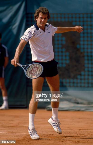 Matt Mitchell of the USA in action against Ivan Lendl of Czechoslovakia in their first round match during the French Open Tennis Championships at the...