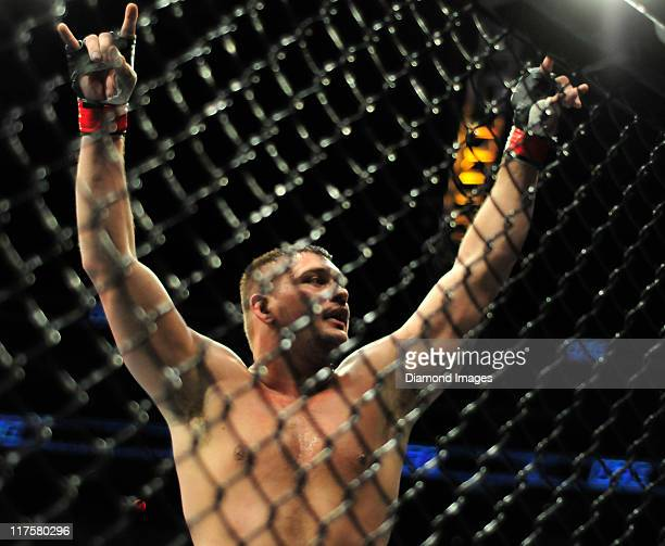 Matt Mitrione celebrates ofter his victory in a heavyweight bout at UFC on Versus 4 Sunday June 26, 2011 at Consol Enegry Center in Pittsburgh...