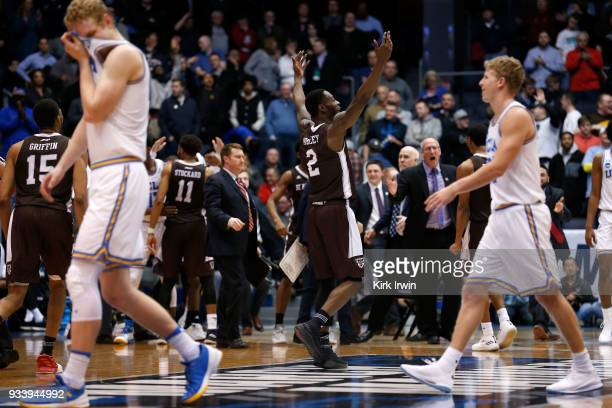 Matt Mobley of the St Bonaventure Bonnies celebrates his team's lead late in the game against the UCLA Bruins at UD Arena on March 13 2018 in Dayton...