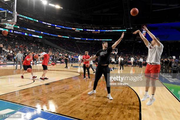 Matt Mooney of the Texas Tech Red Raiders warms up before the game against the Virginia Cavaliers during the 2019 NCAA men's Final Four National...
