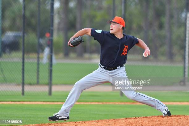 Matt Moore of the Detroit Tigers pitches during Spring Training workouts at the TigerTown Facility on February 20 2019 in Lakeland Florida