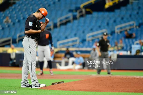 Matt Moore of the Detroit Tigers prepares to take the mound in the first inning against the Tampa Bay Rays during the last spring training game at...