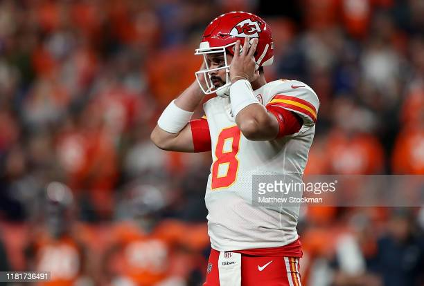Matt Moore of the Kansas City Chiefs replaces quarterback Patrick Mahomes after an injury if the first half against the Denver Broncos in the game at...