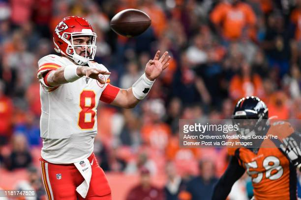 Matt Moore of the Kansas City Chiefs throws against the Denver Broncos during the third quarter on Thursday, October 17, 2019.