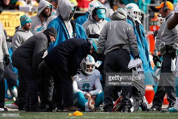 Matt Moore of the Miami Dolphins receives attention on the sideline after taking a hit during the second quarter against the Pittsburgh Steelers in...