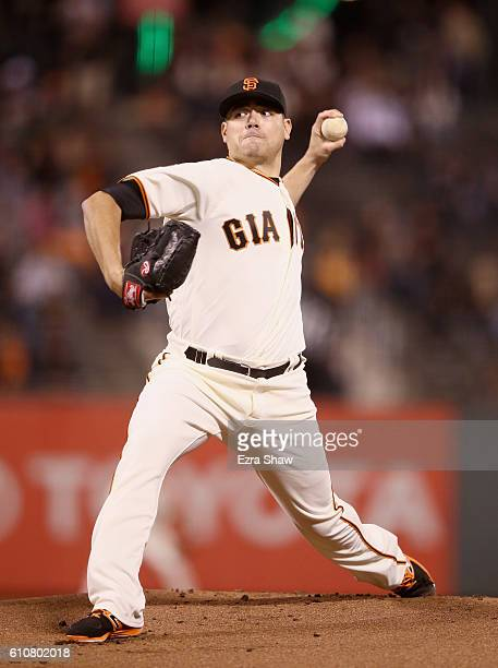 Matt Moore of the San Francisco Giants pitches against the Colorado Rockies in the first inning at ATT Park on September 27 2016 in San Francisco...