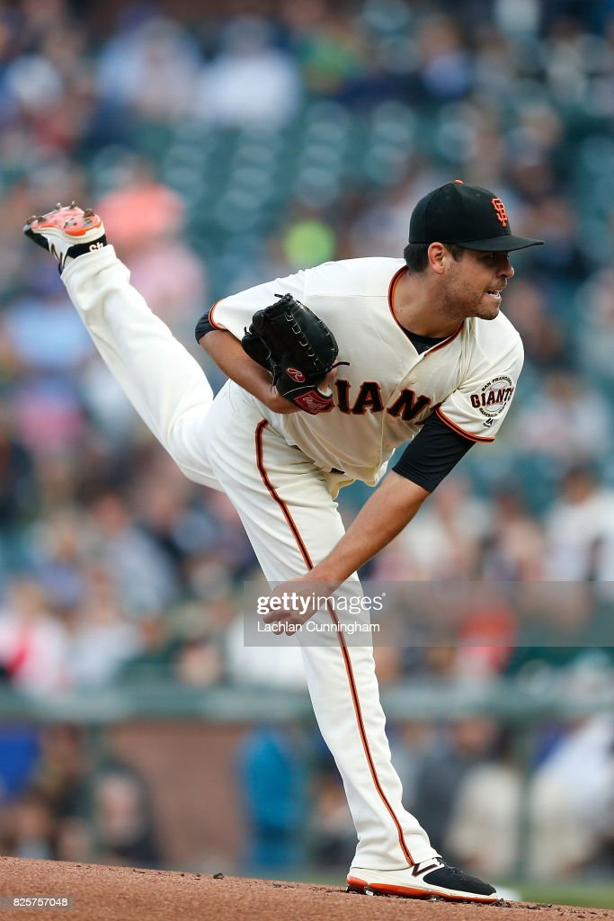 Matt Moore #45 of the San Francisco Giants pitches in the first inning against the Oakland Athletics during an interleague game at AT&T Park on August 2, 2017 in San Francisco, California.
