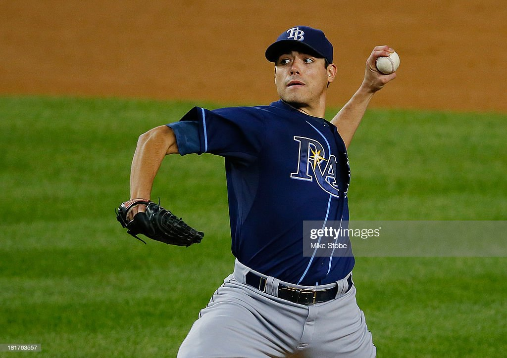 Matt Moore #55 of the Tampa Bay Rays pitches against the New York Yankees at Yankee Stadium on September 24, 2013 in the Bronx borough of New York City. The Rays defeated the Yankees 7-0.