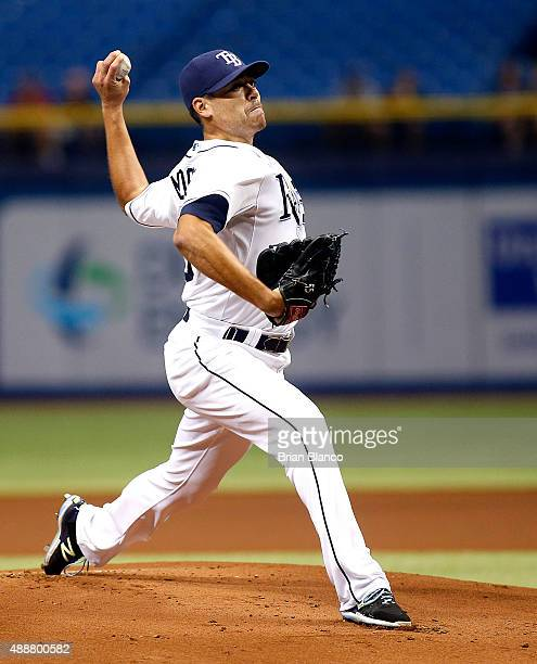 Matt Moore of the Tampa Bay Rays pitches during the first inning of a game against the Baltimore Orioles on September 17 2015 at Tropicana Field in...