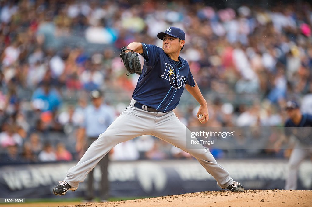 Matt Moore #55 of the Tampa Bay Rays pitches during the game against the New York Yankees at Yankee Stadium on July 28, 2013 in the Bronx borough of Manhattan.