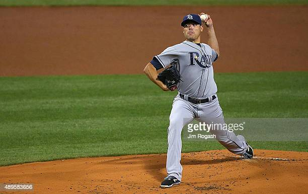 Matt Moore of the Tampa Bay Rays throws in the first inning against the Boston Red Sox at Fenway Park on September 22 2015 in Boston Massachusetts