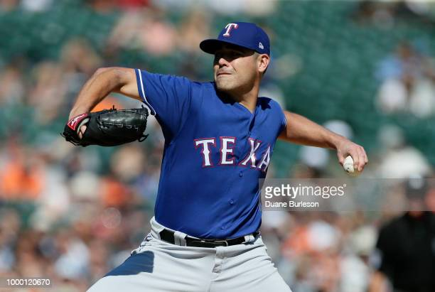 Matt Moore of the Texas Rangers pitches against the Detroit Tigers during the first inning at Comerica Park on July 7 2018 in Detroit Michigan