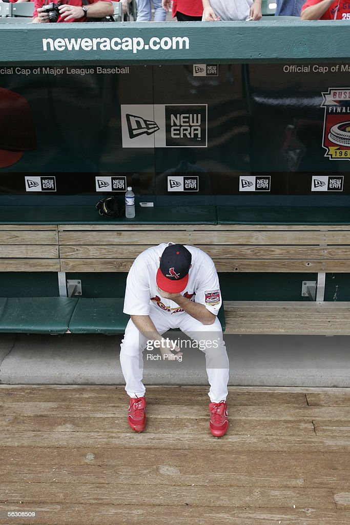 Matt Morris sits alone in the dugout before the final regular season game on October 2, 2005 in St. Louis, Missouri. Following the season, Busch Stadium will be torn down to make room for a new stadium. The Cards defeated the Reds 7-5.