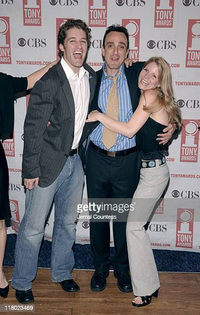 Matt Morrison Hank Azaria and Kelli O'Hara during 59th Annual Tony Awards 'Meet The Nominees' Press Reception at The View at The Marriot Marquis in...