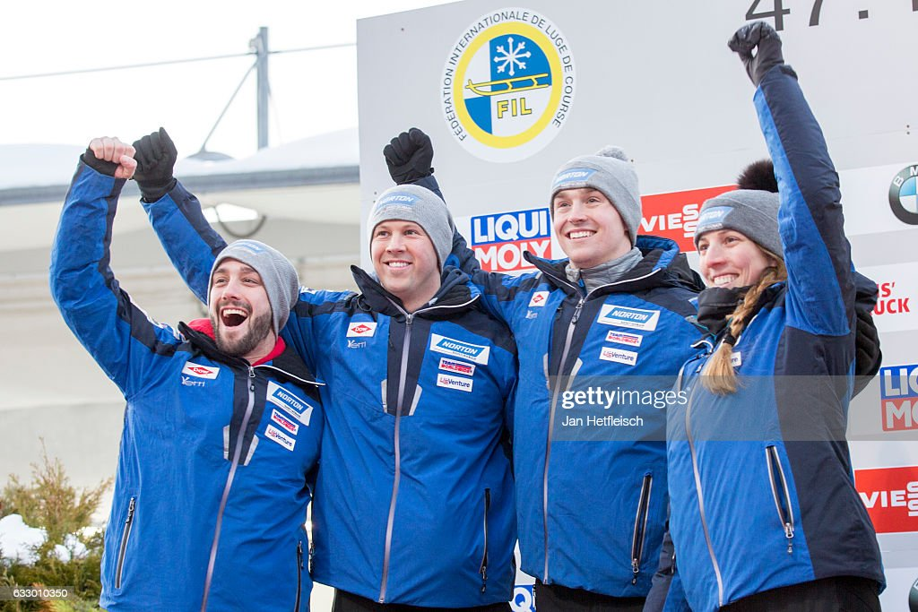 Matt Mortensen, Jayson Terdiman, Tucker West and Erin Hamlin celebrate the winning of the second place in the Team Luge competition during the third day of the FIL World Championships at Olympiabobbahn Igls on January 29, 2017 in Innsbruck, Austria.