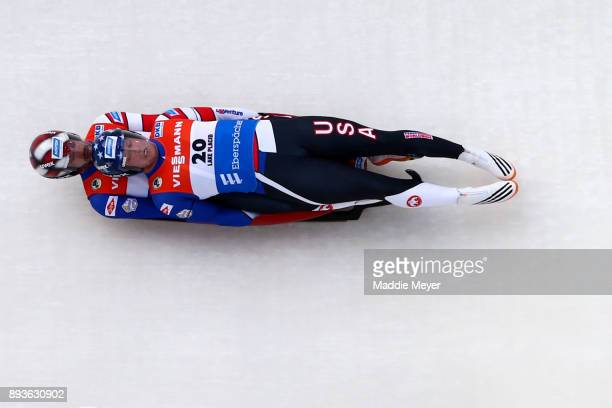 Matt Mortensen, top, and Jayson Terdiman of the United States compete in the Doubles event at the Viessmann FIL Luge World Cup at Lake Placid Olympic...