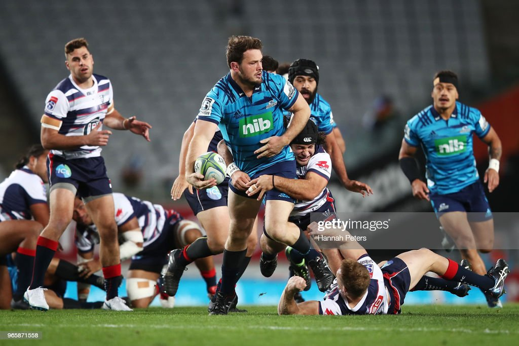 Matt Moulds of the Blues charges forward during the round 16 Super Rugby match between the Blues and the Rebels at Eden Park on June 2, 2018 in Auckland, New Zealand.