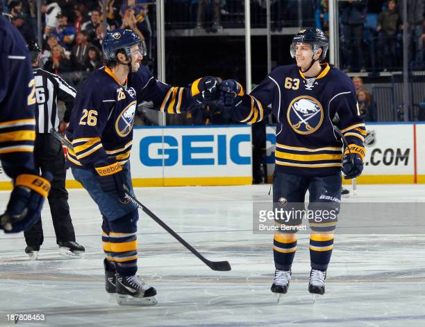 Matt Moulson and Tyler Ennis of the Buffalo Sabres celebrate their 32 shootout victory over the Los Angeles Kings at the First Niagara Center on...
