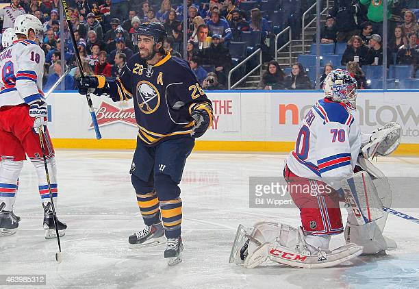 Matt Moulson of the Buffalo Sabres celebrates his first period goal against Mackenzie Skapski of the New York Rangers on February 20 2015 at the...