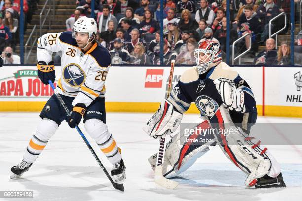 Matt Moulson of the Buffalo Sabres skates in front of goaltender Sergei Bobrovsky of the Columbus Blue Jackets on March 28 2017 at Nationwide Arena...