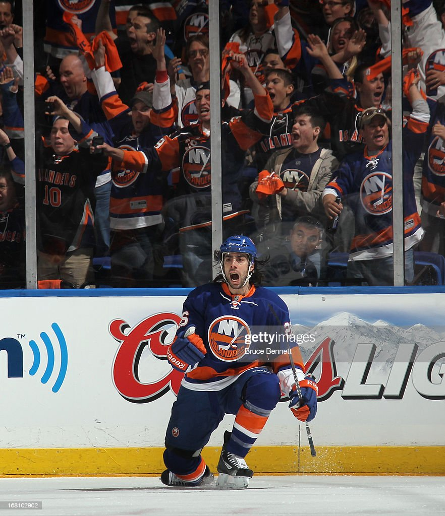 Matt Moulson #26 of the New York Islanders celebrates his goal at 1:43 of the first period against the Pittsburgh Penguins in Game Three of the Eastern Conference Quarterfinals during the 2013 NHL Stanley Cup Playoffs at the Nassau Veterans Memorial Coliseum on May 5, 2013 in Uniondale, New York.