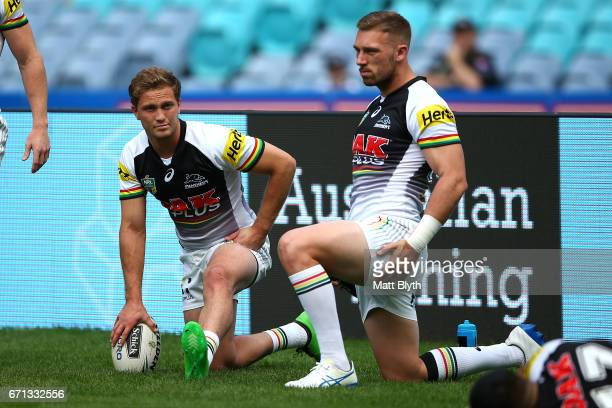 Matt Moylan and Bryce Cartwright of the Panthers stretch before the round eight NRL match between the Parramatta Eels and the Penrith Panthers at ANZ...
