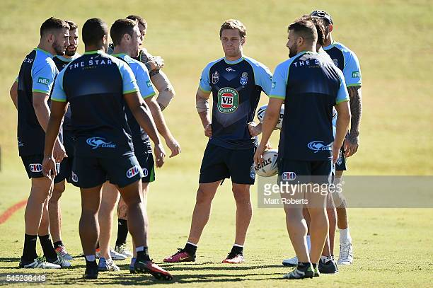 Matt Moylan of the Blues speaks with team mates during the New South Wales State of Origin training session on July 7 2016 in Coffs Harbour Australia