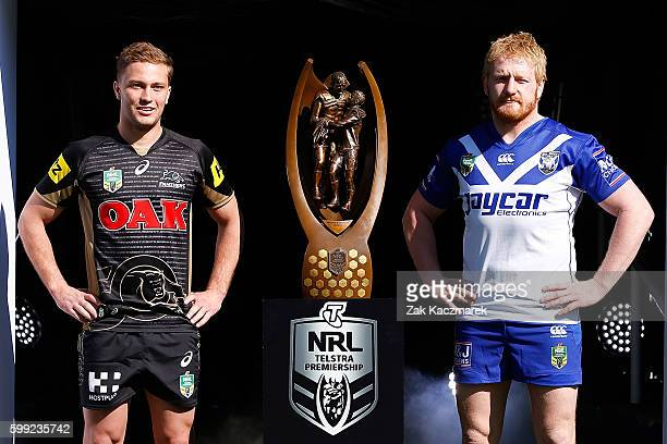 Matt Moylan of the Panthers and James Graham of the Bulldogs pose during the 2016 NRL Finals series launch at Allianz Stadium on September 5 2016 in...