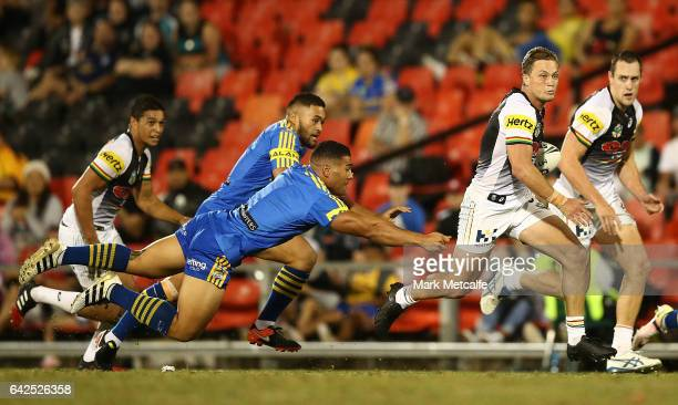 Matt Moylan of the Panthers in action during the NRL Trial match between the Penrith Panthers and Parramatta Eels at Pepper Stadium on February 18...