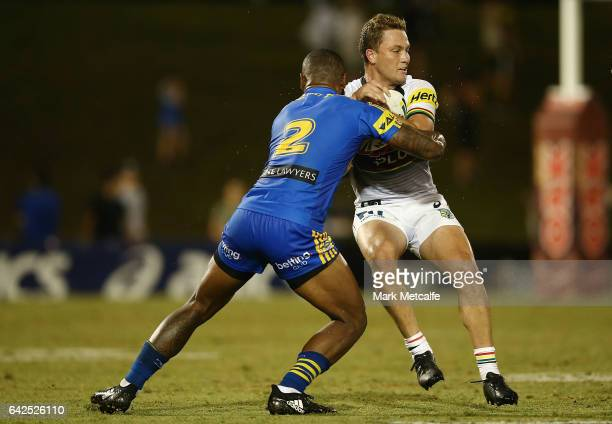 Matt Moylan of the Panthers is tackled during the NRL Trial match between the Penrith Panthers and Parramatta Eels at Pepper Stadium on February 18...