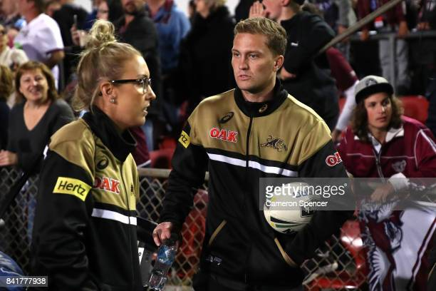 Matt Moylan of the Panthers looks on from the sideline during the round 26 NRL match between the Manly Sea Eagles and the Penrith Panthers at...