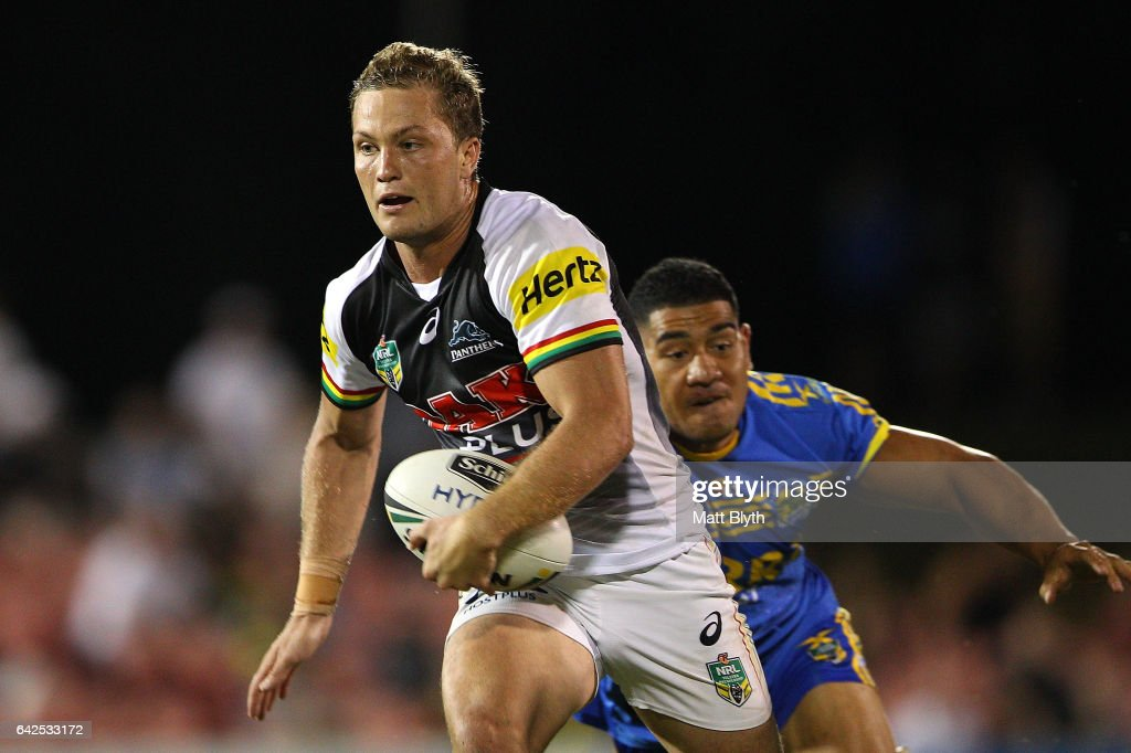Matt Moylan of the Panthers makes a break during the NRL Trial match between the Penrith Panthers and Parramatta Eels at Pepper Stadium on February 18, 2017 in Sydney, Australia.