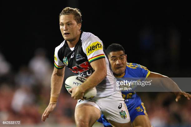 Matt Moylan of the Panthers makes a break during the NRL Trial match between the Penrith Panthers and Parramatta Eels at Pepper Stadium on February...