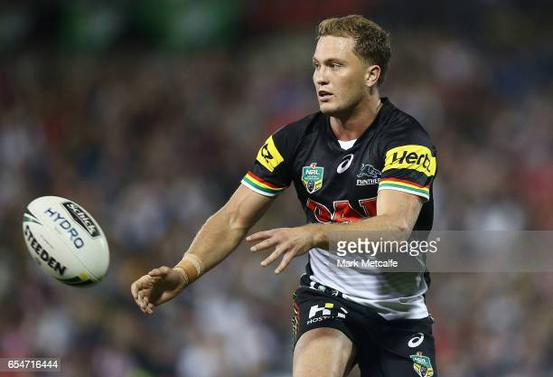 Matt Moylan of the Panthers passes the ball during the round three NRL match between the Penrith Panthers and the Sydney Roosters at Pepper Stadium...