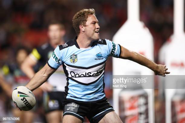 Matt Moylan of the Sharks celebrates scoring a try during the round 18 NRL match between the Panthers and the Sharks at Panthers Stadium on July 13...