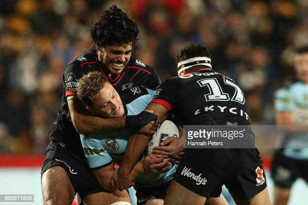 Matt Moylan of the Sharks charges forward during the round 16 NRL match between the New Zealand Warriors and the Cronulla Sharks at Mt Smart Stadium...