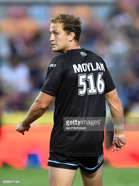 Matt Moylan of the Sharks warms up before the start of the round one NRL match between the North Queensland Cowboys and the Cronulla Sharks at...