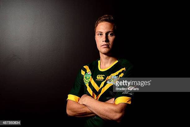 Matt Moylan poses for a photo during an Australian Kangaroos Four Nations media session at the Sofitel Hotel on October 17 2014 in Brisbane Australia