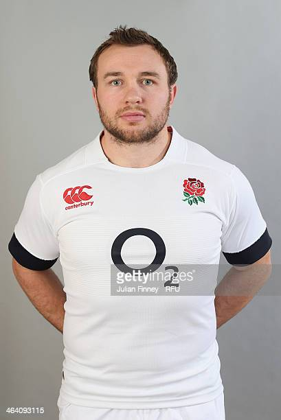 Matt Mullan of England poses for a portrait during the England Six Nations Squad Photo Call at the Penny Hill Hotel on January 20 2014 in Bagshot...