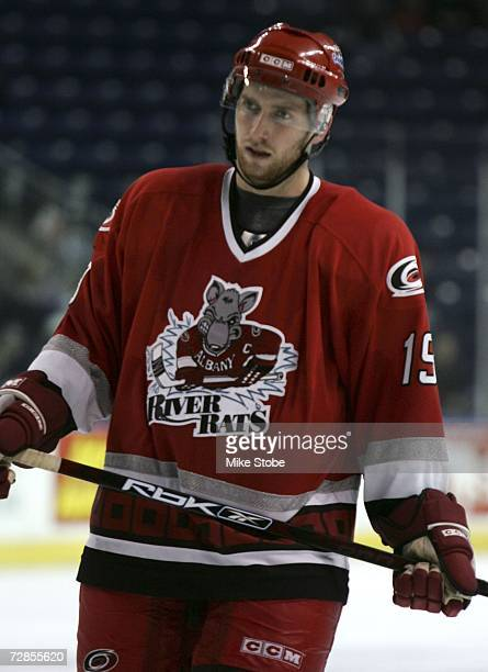 Matt Murley of the Albany River Rats looks on against the Bridgeport Sound Tigers at the Arena at Harbor Yard on November 26, 2006 in Bridgeport,...