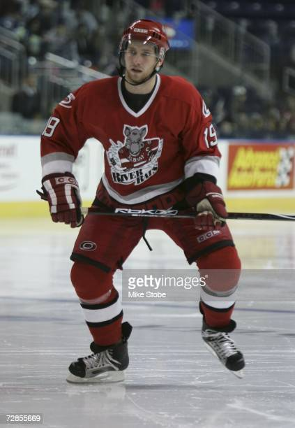 Matt Murley of the Albany River Rats skates against the Bridgeport Sound Tigers at the Arena at Harbor Yard on November 26, 2006 in Bridgeport,...