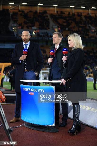 Matt Murray Darren Fletcher and Kelly Cates stand by for Sky Sports during the Premier League match between Wolverhampton Wanderers and Manchester...