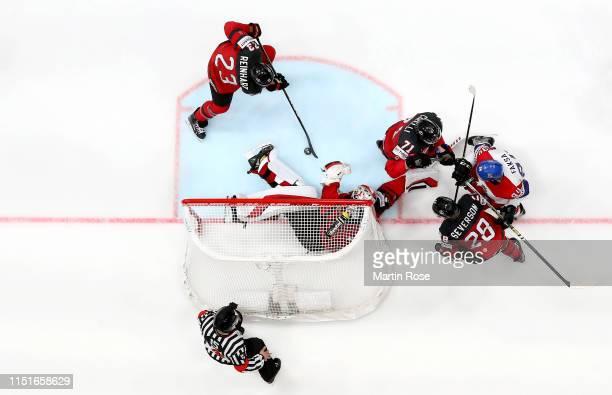 Matt Murray, goaltender of Canada tends net against Radek Faksa during the 2019 IIHF Ice Hockey World Championship Slovakia semi final game between...
