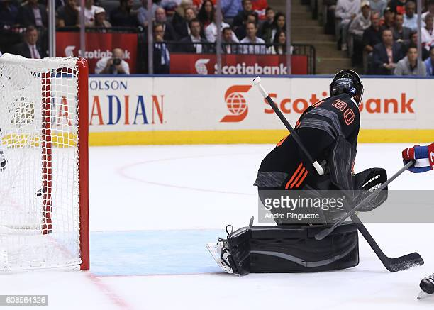 Matt Murray of Team North America turns as Vladimir Tarasenko of Team Russia scores a second period goal during the World Cup of Hockey 2016 at Air...