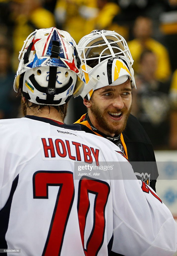 3c8a07056d2 Matt Murray of the Pittsburgh Penguins and Braden Holtby of the ...