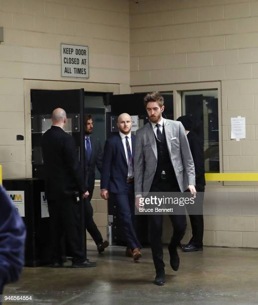 Matt Murray of the Pittsburgh Penguins arrives to play against the Philadelphia Flyers in Game Three of the Eastern Conference First Round during the...