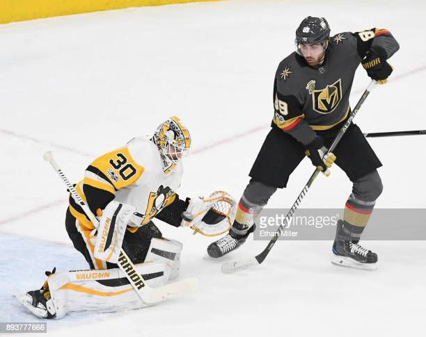 Matt Murray of the Pittsburgh Penguins blocks a shot by Alex Tuch of the Vegas Golden Knights in the first period of their game at TMobile Arena on...