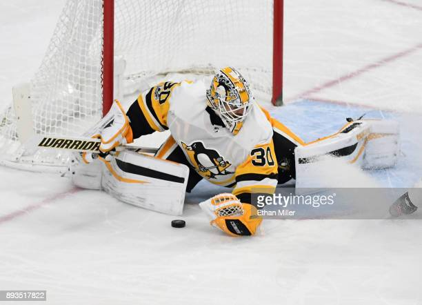 Matt Murray of the Pittsburgh Penguins blocks a Vegas Golden Knights shot in the third period of their game at TMobile Arena on December 14 2017 in...